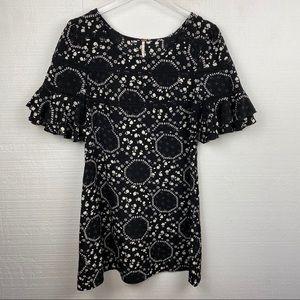 Free People Geo Garden Dress 4 Black Floral Mini